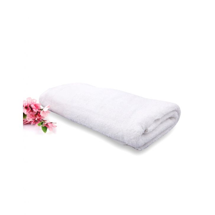 Terry 1 Piece Bath White Weaved Cotton Bath Towels in White Colour by Living Essence