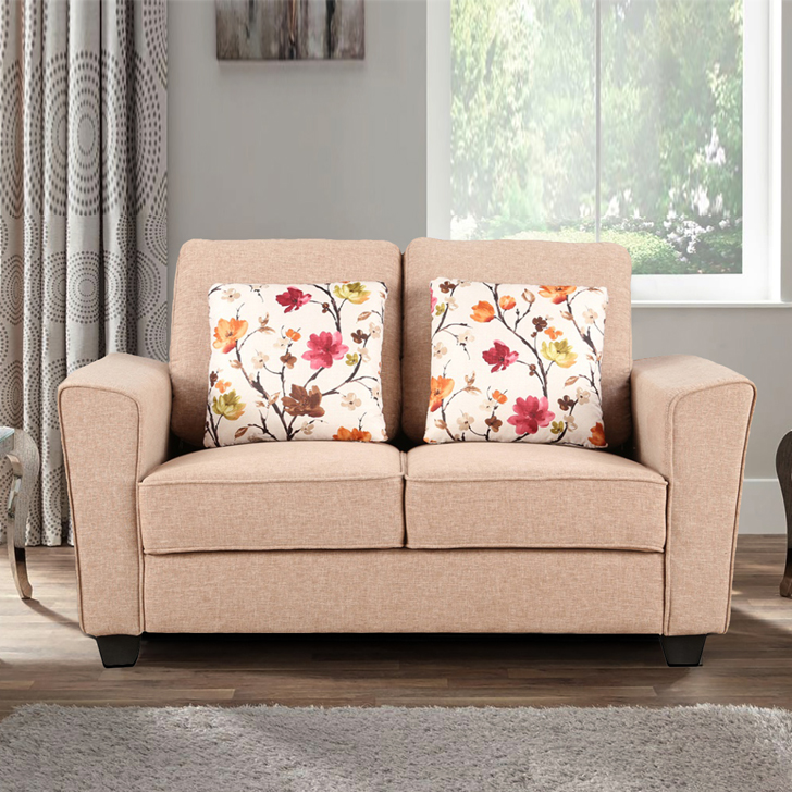 Rogers Fabric Two Seater sofa in Brown Colour by HomeTown