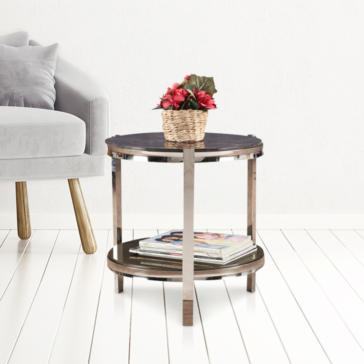 Troy Chrome Steel End Table in Brown Colour by HomeTown