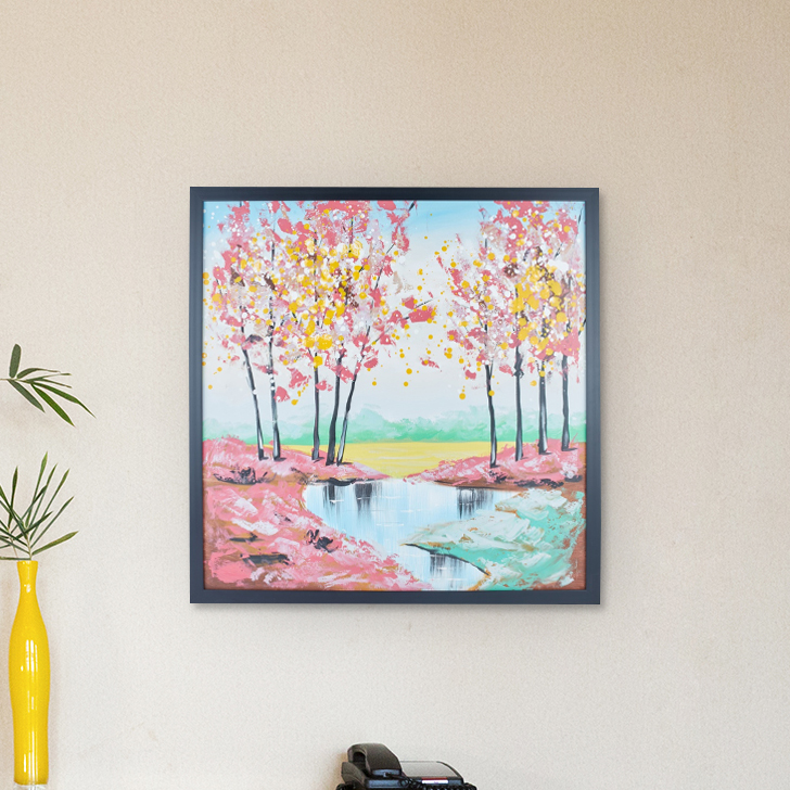 Hendrix Autumn Landscape Painting Canvas Paintings in Multicolor Colour by Living Essence