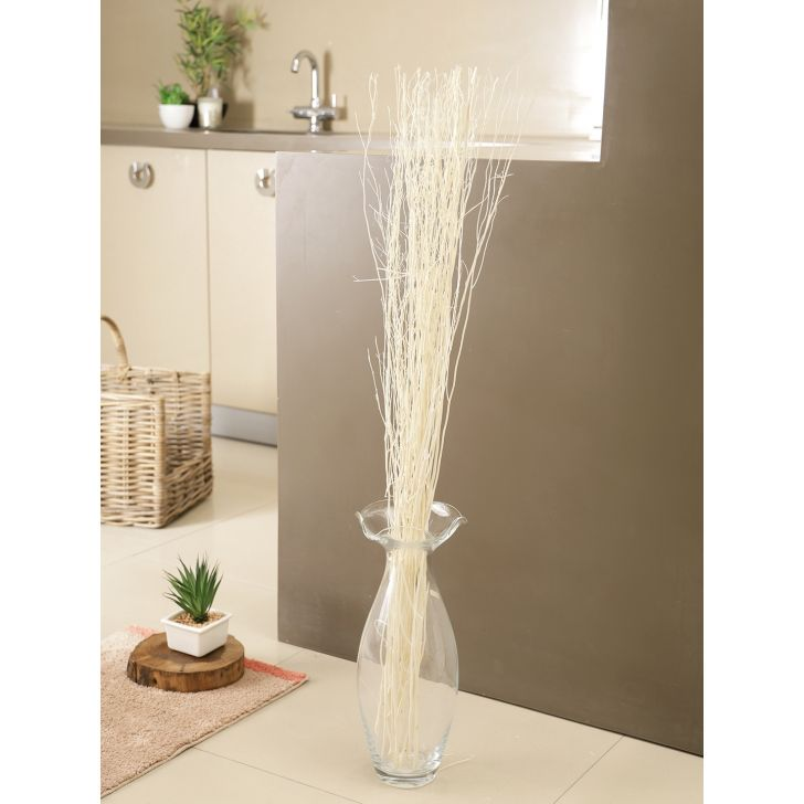 Wicker Dry Steel White Lady in White Colour by Living Essence