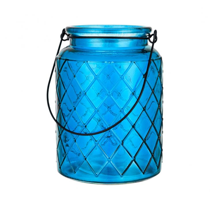 Verve Diamond Design Set of Two Glass Candle Holders in Blue Colour by Living Essence