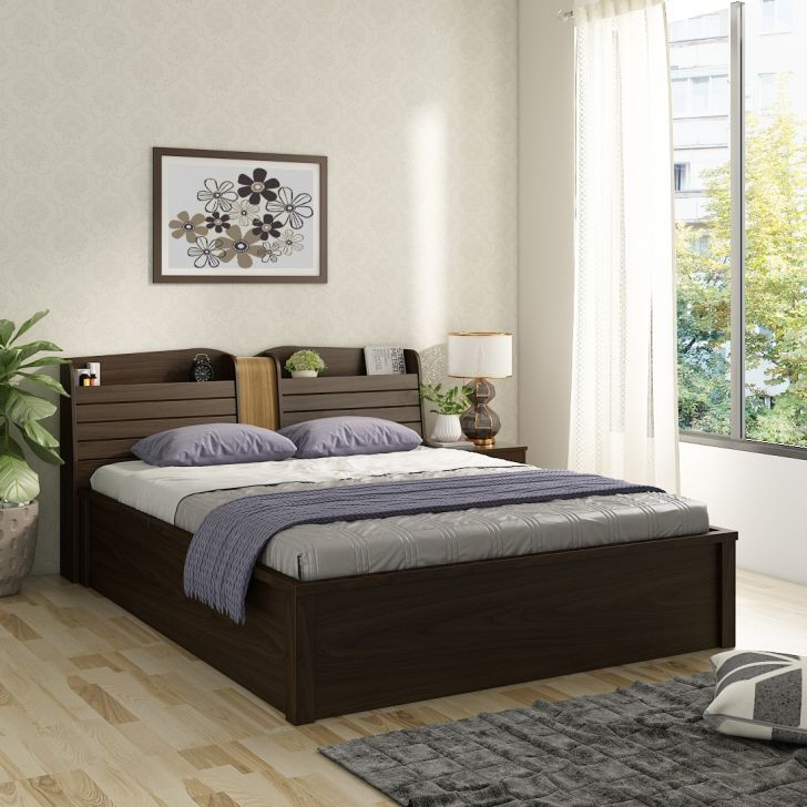 Magnum Engineered Wood Queen Bed with Hydraulic Storage in Urban Walnut Colour by HomeTown