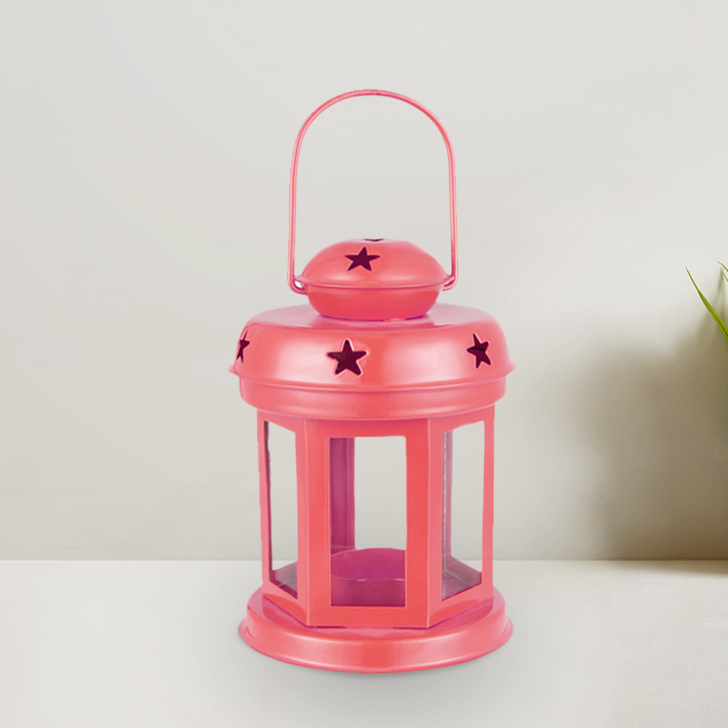 Allure Pink Glass Lantern With Star Etching Metal Lanterns in Pink Colour by Living Essence