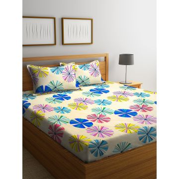Carnival Double Bedsheet 220 x 230 CM in Multi Colour by Living Essence