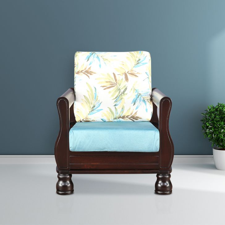 Clyde Solid Wood Single Seater Sofa With Cushion in Printed Teal Colour by HomeTown