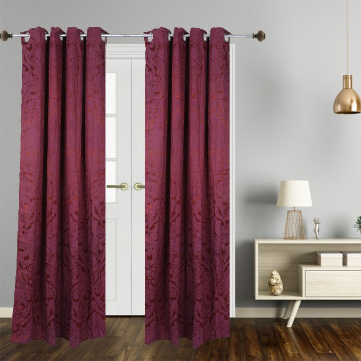Premium Jacquard Polyester Door Curtain in Maroon Colour by Dreamline