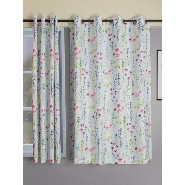 Set of 2 Nora Print Polyester Window Curtains in Citron Colour by Living Essence