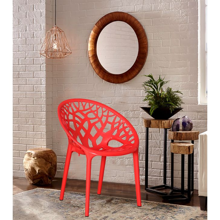 Crystal Plastic Office Chair in Red Colour by HomeTown