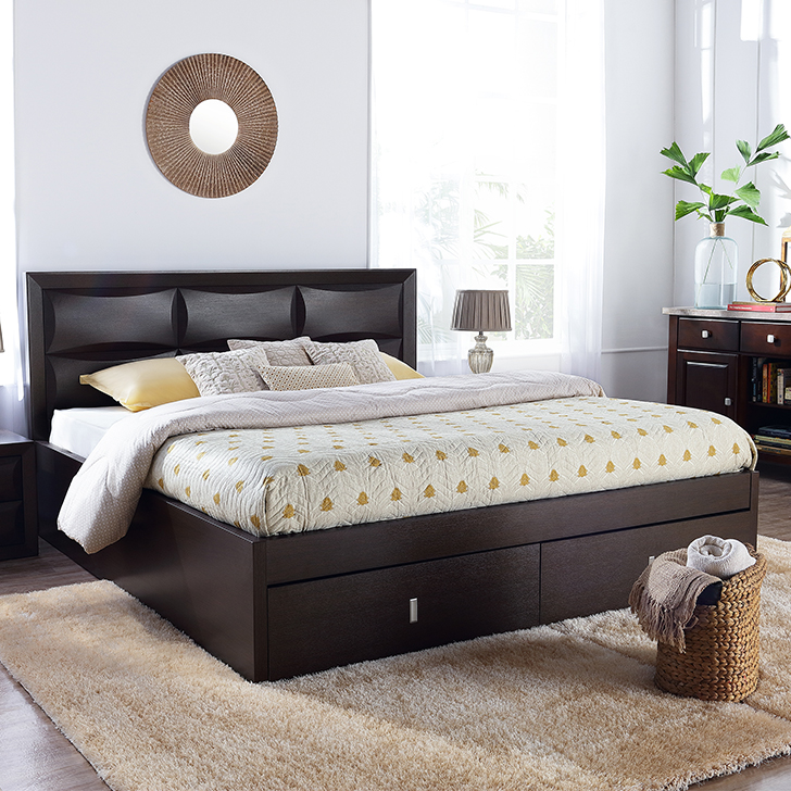 Cambry Engineered Wood Hydraulic Storage Queen Size Bed in Walnut Colour by HomeTown