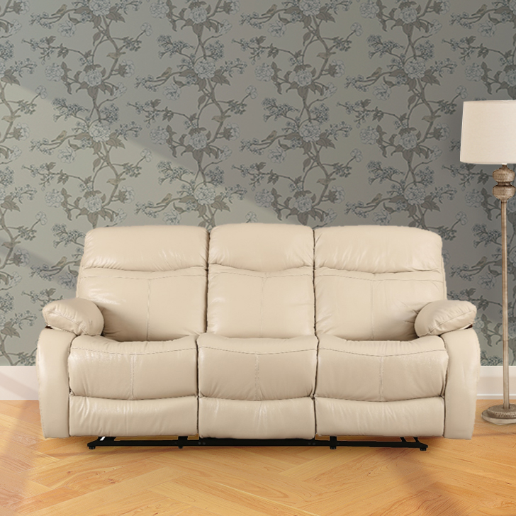 Russel Half Leather Three Seater Recliner in Beige Colour by HomeTown