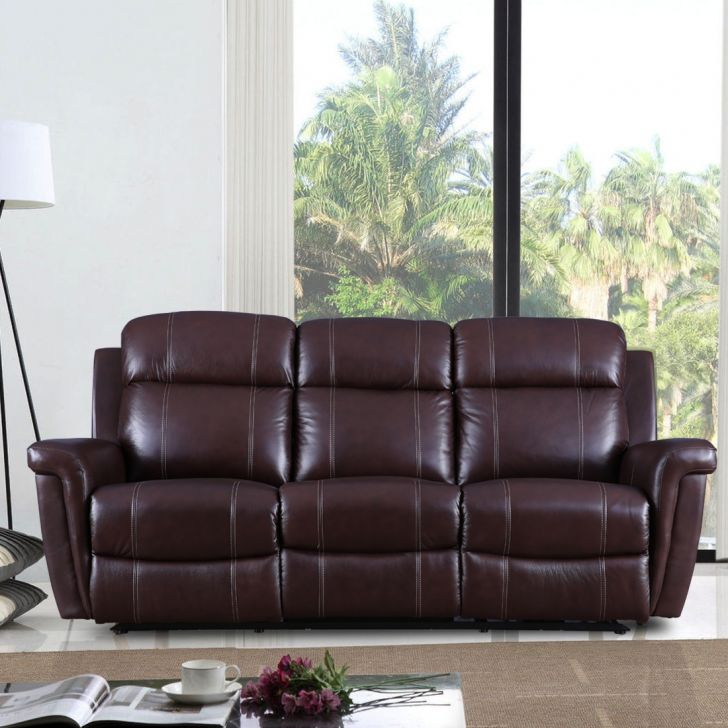 Gatwick Half Leather Three Seater Electric Recliner in Cognac Colour by HomeTown