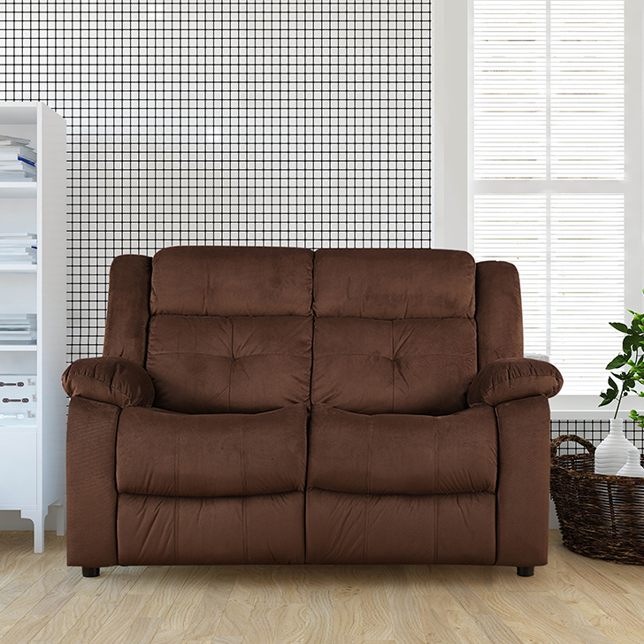 Christopher Fabric Two Seater Sofa in Brown Colour by HomeTown