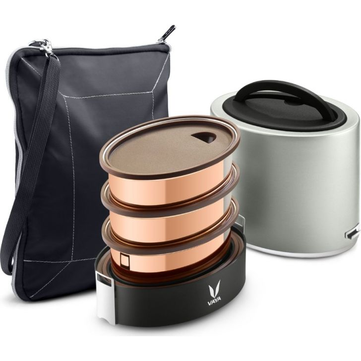 Vaya Tyffyn 1000 Ml With Bagmat- 3 Copper Containers, Silver