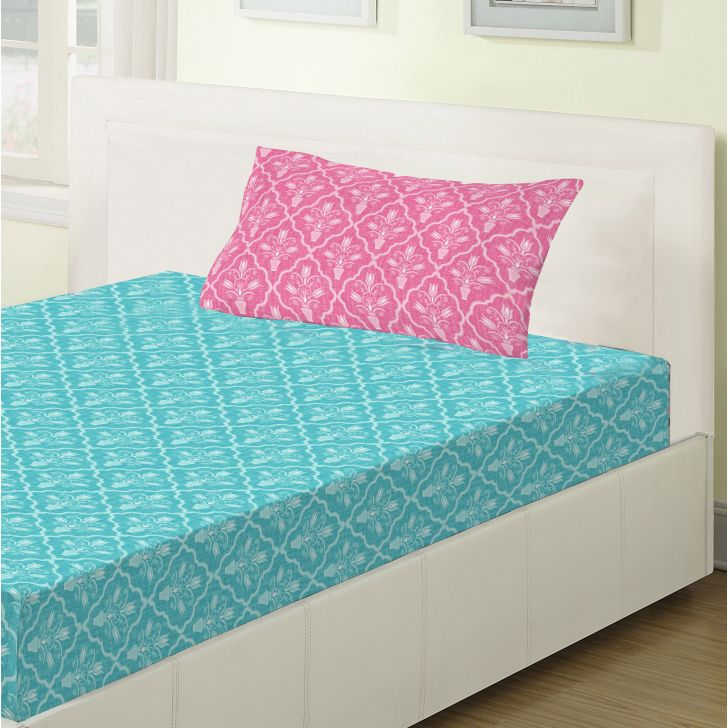 Emilia Cotton Single Bedsheets in Turquoise Colour by Living Essence