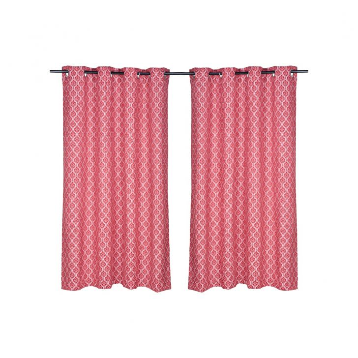 Fiesta Jacquard Polyester Window Curtains in Red Colour by Living Essence