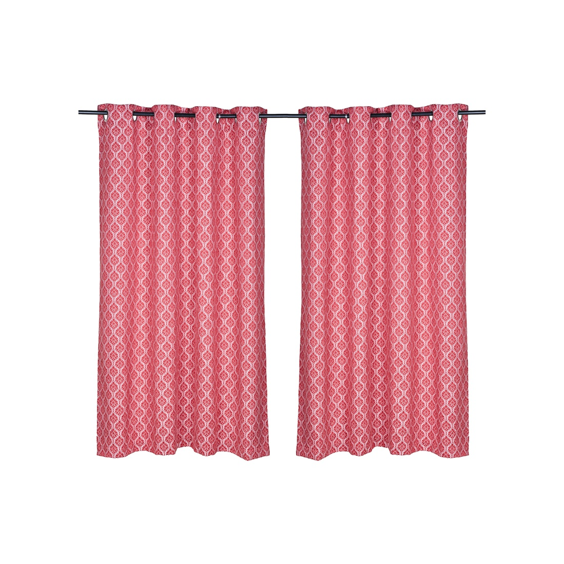Fiesta Jacquard Set Of 2 Window Curtains Red Polyester Window Curtains in Red Colour by Living Essence