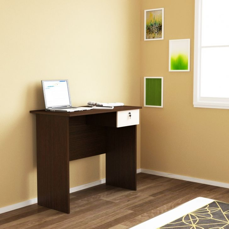 Palencia Engineered Wood Study Desk With Drawer in African Oak Colour by Hoffice