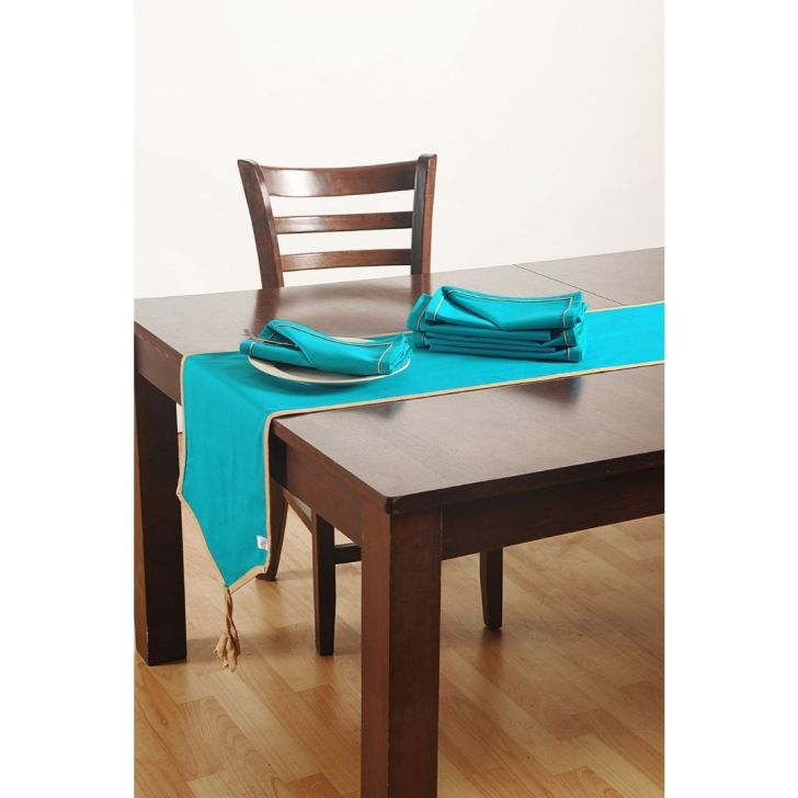 Solid Table Runner In Aqua Color By Swayam