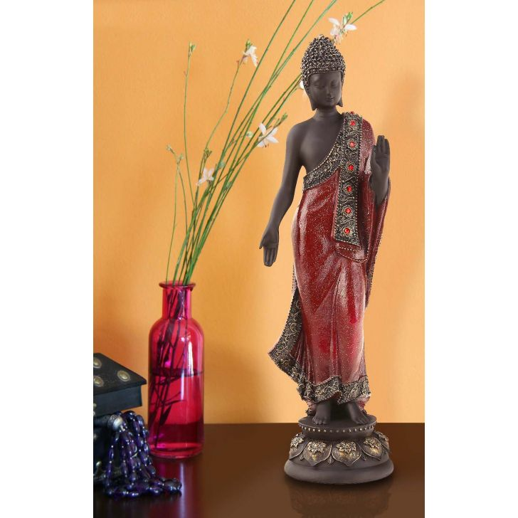Pristine Standing Buddha Red Polyresin Idols in Red- Gold Colour by Living Essence