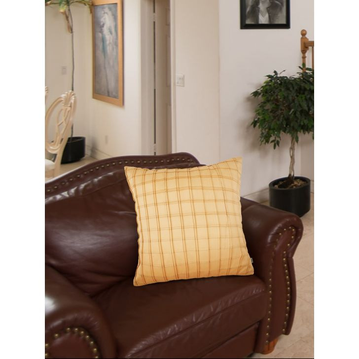 Chic Affair Charles Polyester Cushion Covers in Beige Colour by Living Essence
