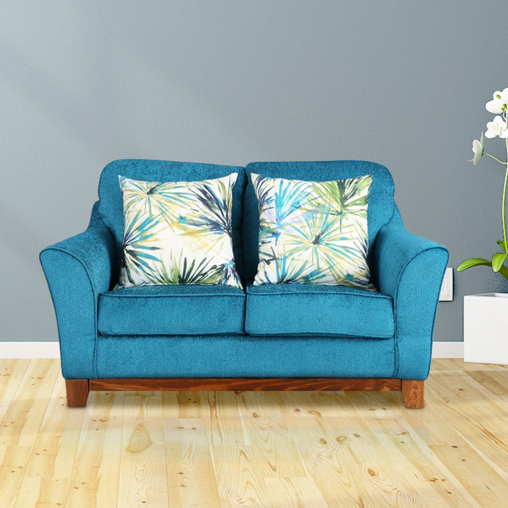 Rotterdam Fabric Two Seater sofa in Turquoise Colour by HomeTown