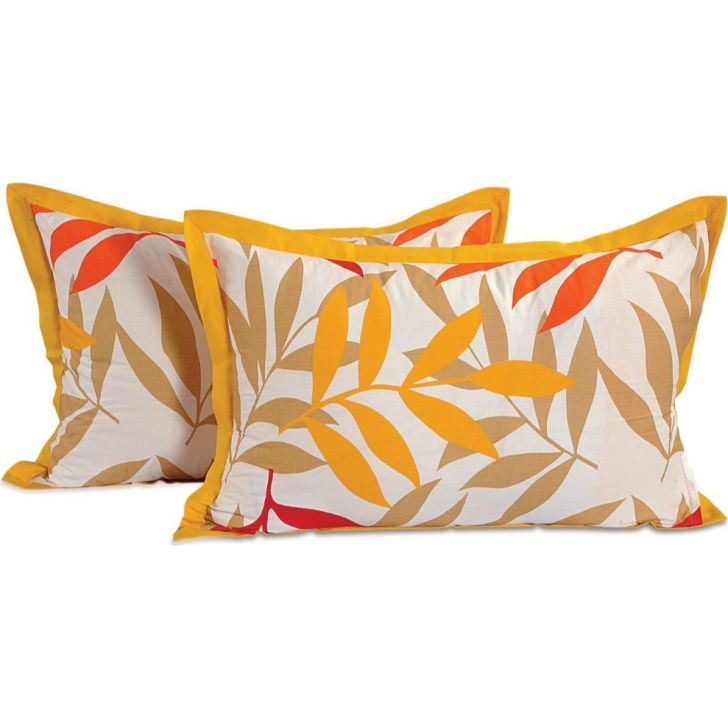 Solid Single Pillow Cover In Yellow Color By Swayam