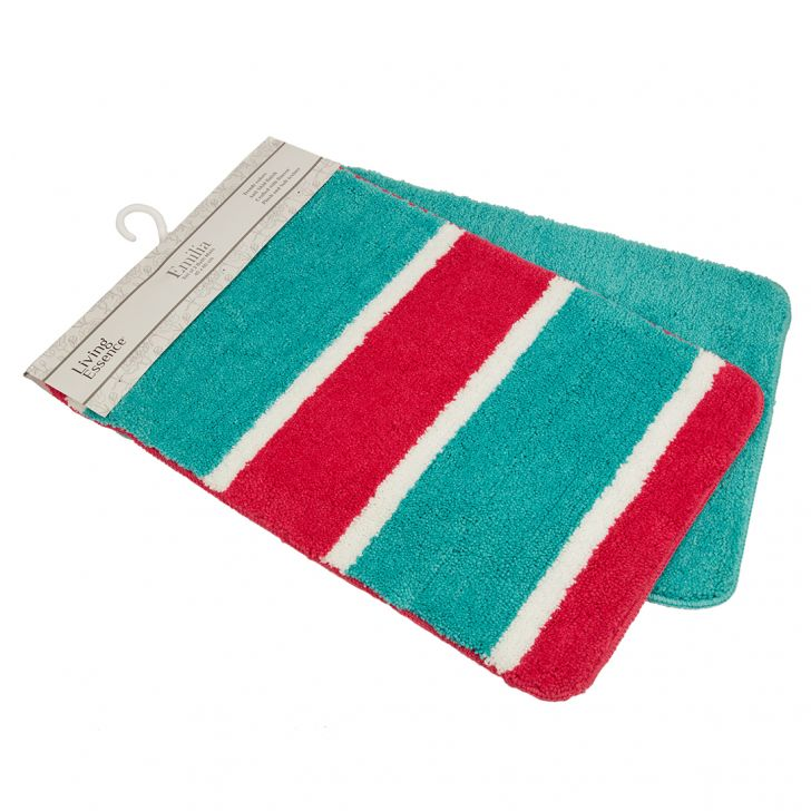 Set of 2 Bathmats Pink and Teal