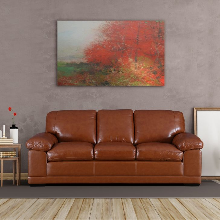 Renley Half Leather Three Seater Sofa in Brown Colour by HomeTown