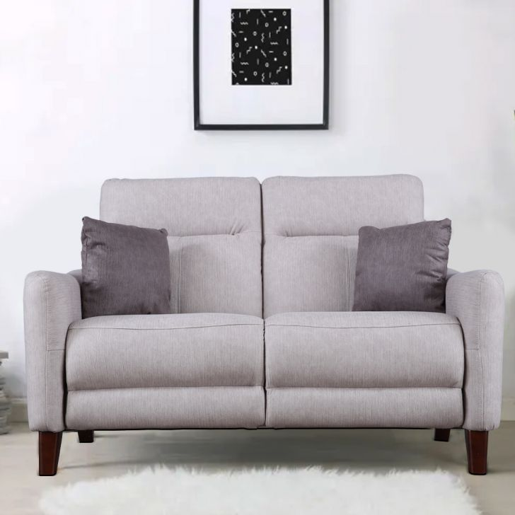 Salerno Fabric Two Seater Sofa in Beige Colour by HomeTown