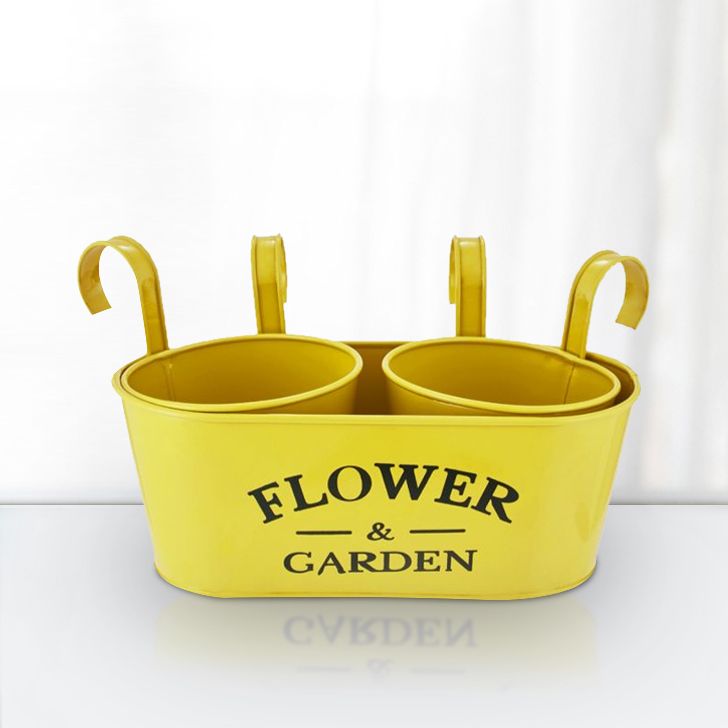 Aria Oval Planter With Handle Big Yellow Set of 3 Metal Pots & Planters in Yellow Colour by Living Essence