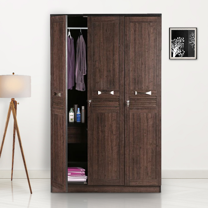 Bolton Engineered Wood Three Door wardrobe in Wenge Colour by HomeTown