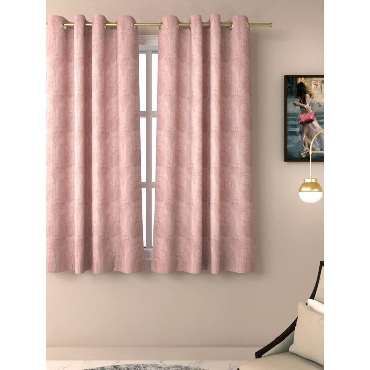 Living Essence Polyester Window Curtain in Blush Colour by Living Essence