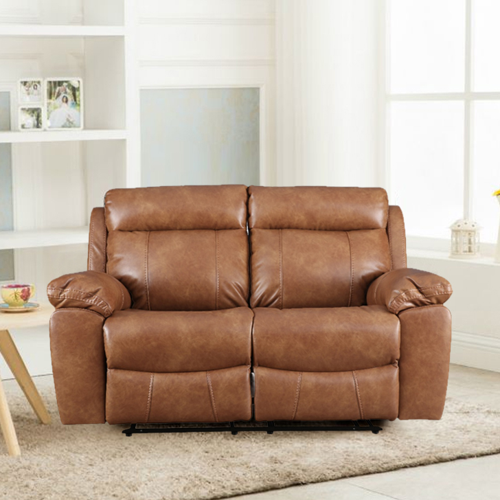 Barnes Pine Two Seater Recliner in Caramel Colour by HomeTown