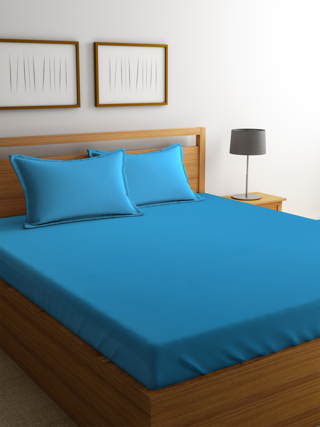 Portico Percale Cotton Double Bed Sheets in Blue Colour by Portico