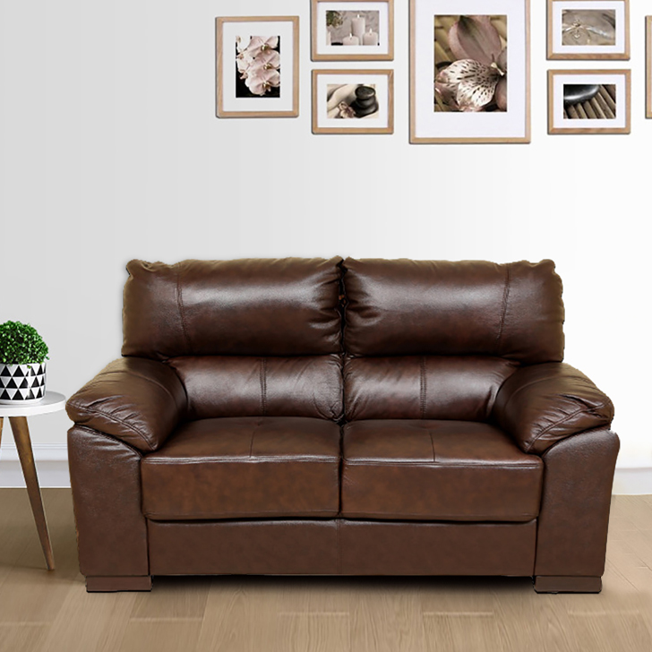 Martin Half Leather Two Seater sofa in Brown Colour by HomeTown