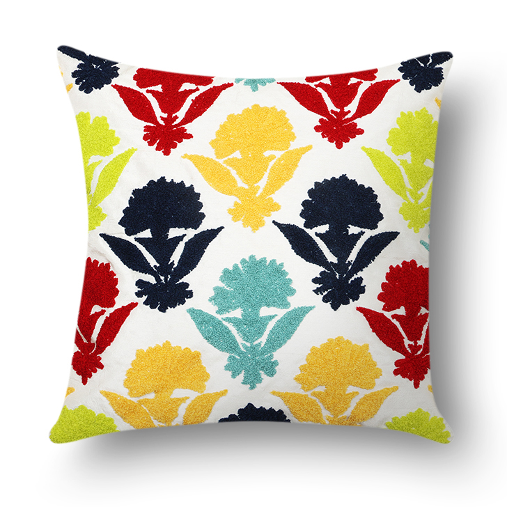 Floral Polyester Cushion Cover Multicolor Polyester Cushion Covers in Multicolor Colour by Living Essence