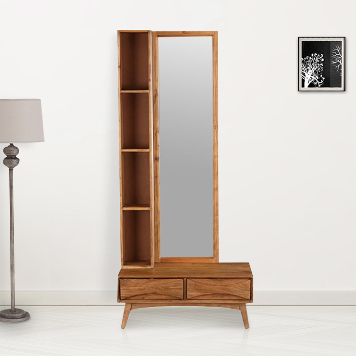 Nordland Acacia Wood Dressing Mirror in Walnut Brown Colour by HomeTown