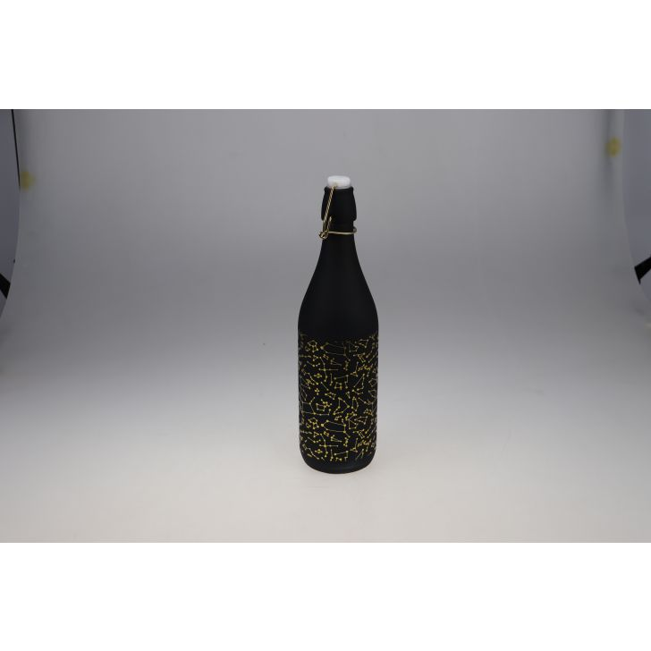 Manhattan Glass Black Gold Frosted Bottle 1L in Black Colour by Living Essence