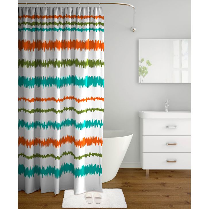 Tangerine Polyester Shower Curtain With Hooks Multicolor