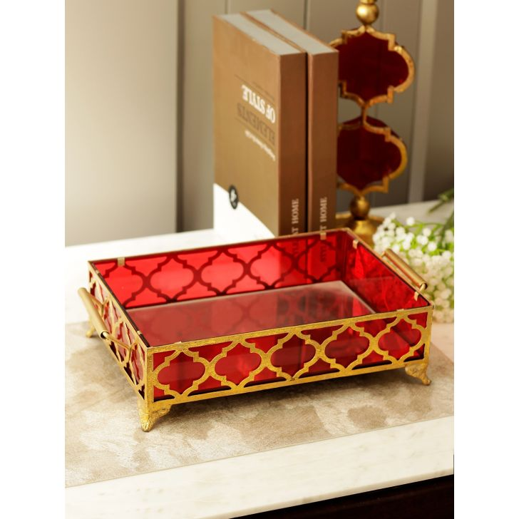 Mehr Metal Tray Table Decor in Gold-Red Colour