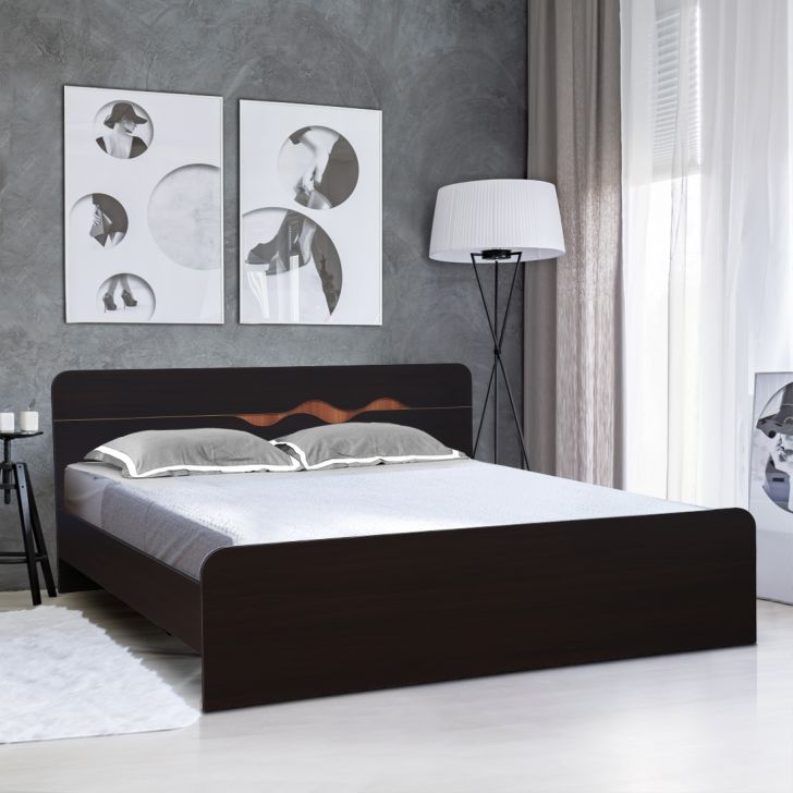 Swirl Engineered Wood King Size Bed in Multi Color Colour by HomeTown