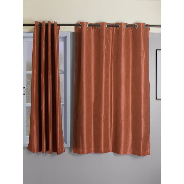 Set of 2 Emilia Blackout Polyester Window Curtains in Rust Colour by Living Essence