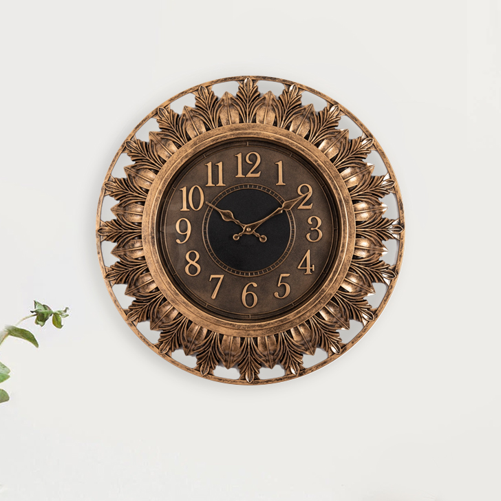 Aristo Petal Frame Clock Plastic Classic Clocks in Gold Colour by Living Essence