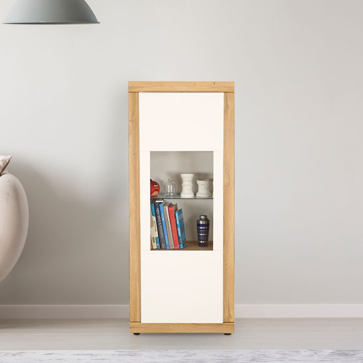 Cartier Engineered Wood Multipurpose Storage Cabinet in White High Gloss & Oak Colour by HomeTown
