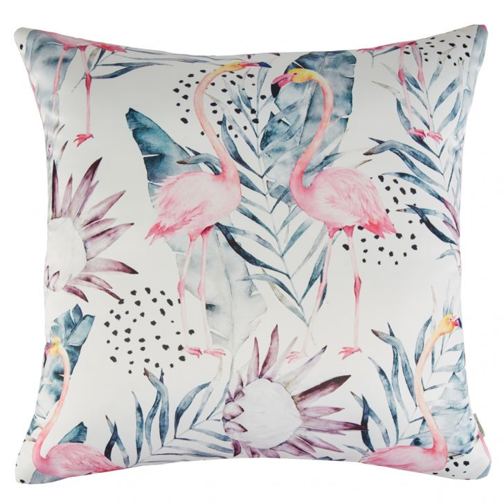 Digital Cushion Cover Flamingo Cushion Covers in Poly Satin Colour by Living Essence