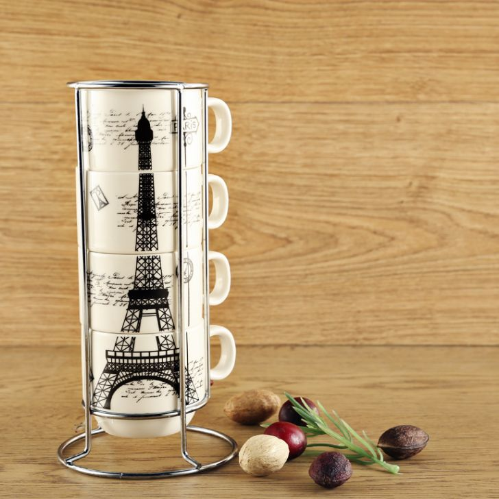 Eiffel Set Of 4 Mugs With Stand Ceramic Coffee Mugs in Multicolour Colour by Living Essence