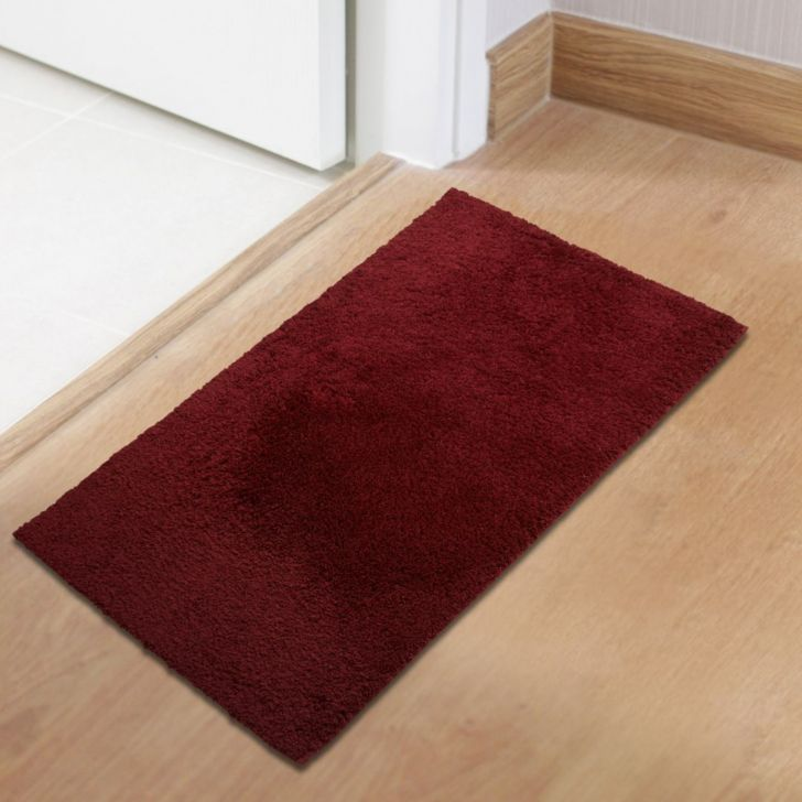 Spaces Polyester Bath Mat in Crimpson Wine Colour by Spaces