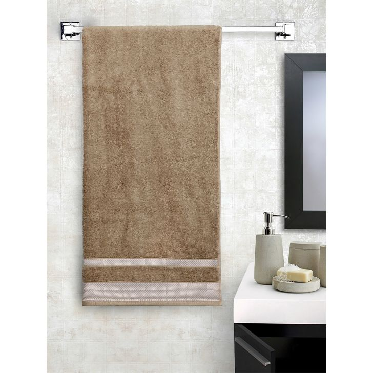 Spaces Cotton Bath Towel in Taupe Colour by Spaces