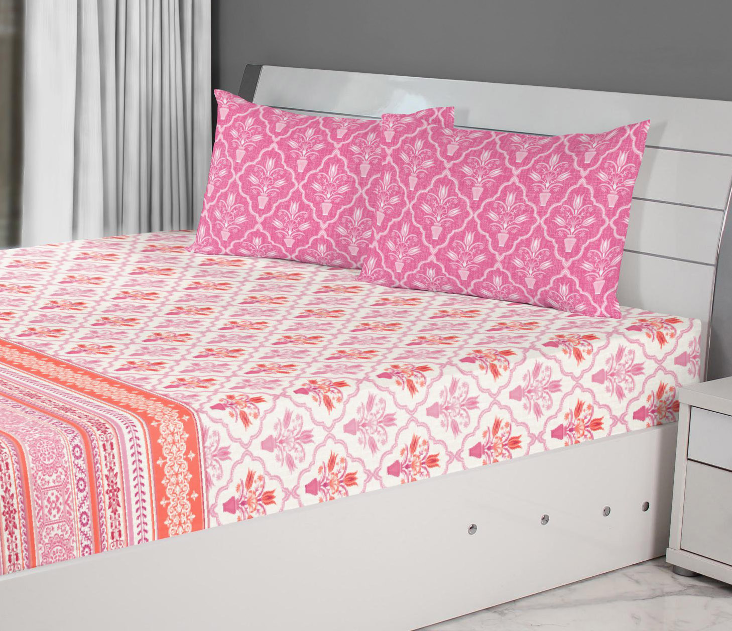 Emilia Cotton Double Bedsheets in Rose Colour by Living Essence